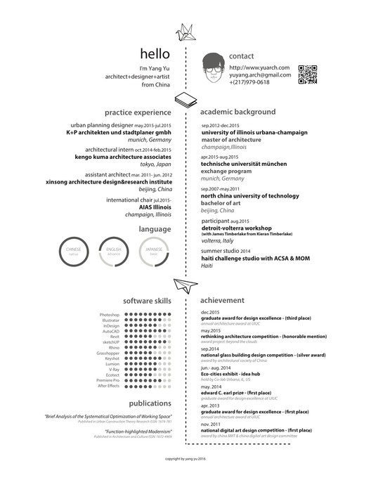 the top architecture résumé cv designs archdaily fresher architect resume yang yu Resume Fresher Architect Resume
