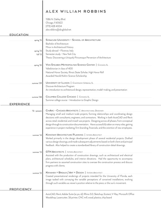 the top architecture résumé cv designs archdaily resume examples alex william robbins Resume Architecture Resume Examples
