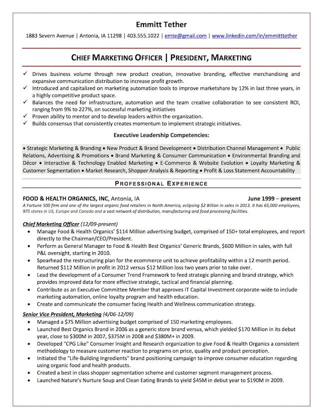 the top executive resume examples written by professional recruiter marketing styles for Resume Resume Styles For Executives
