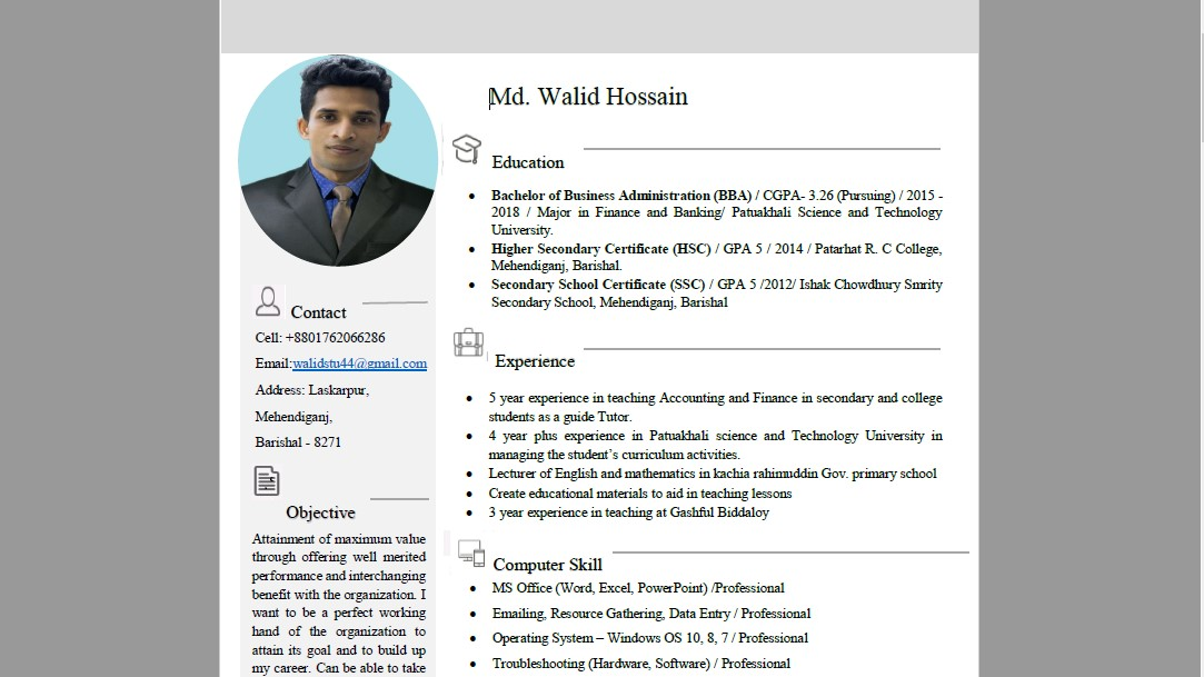 to create professional smart cv resume in microsoft word with standard template walid Resume Can You Make A Resume On Microsoft Word