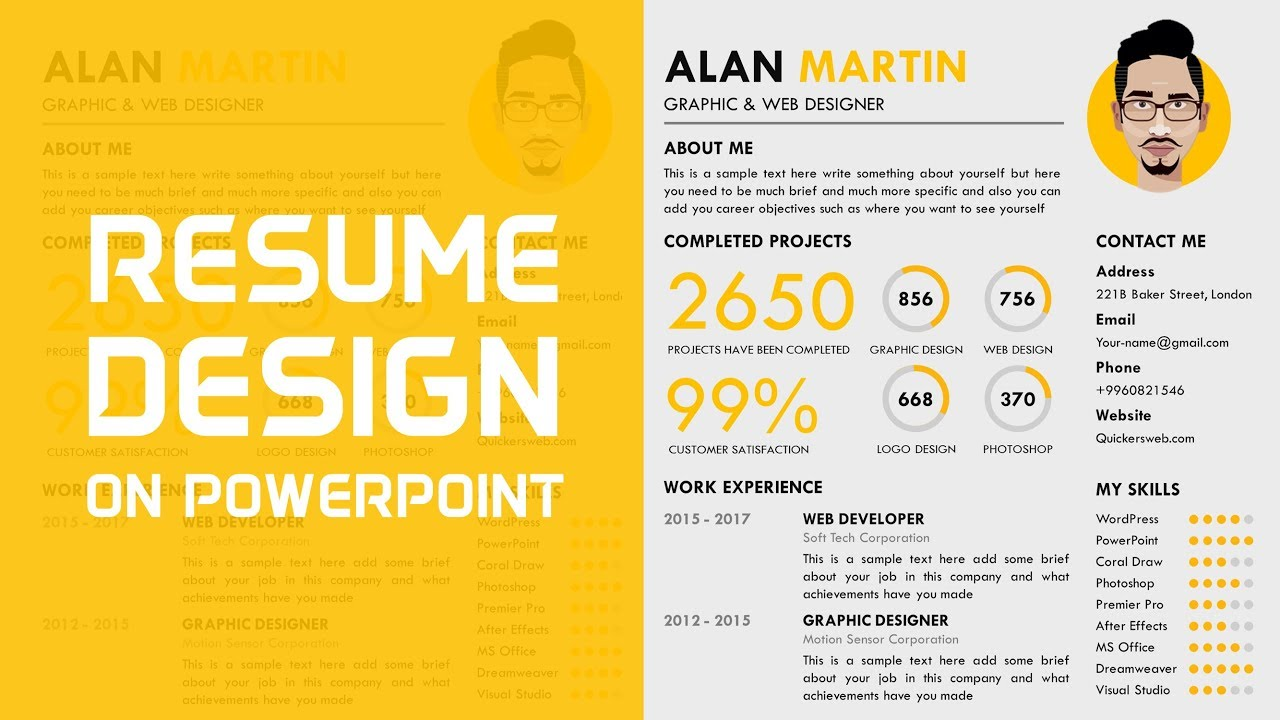 to make professional cv in powerpoint resume using aux customer service caretaker Resume Resume Using Powerpoint