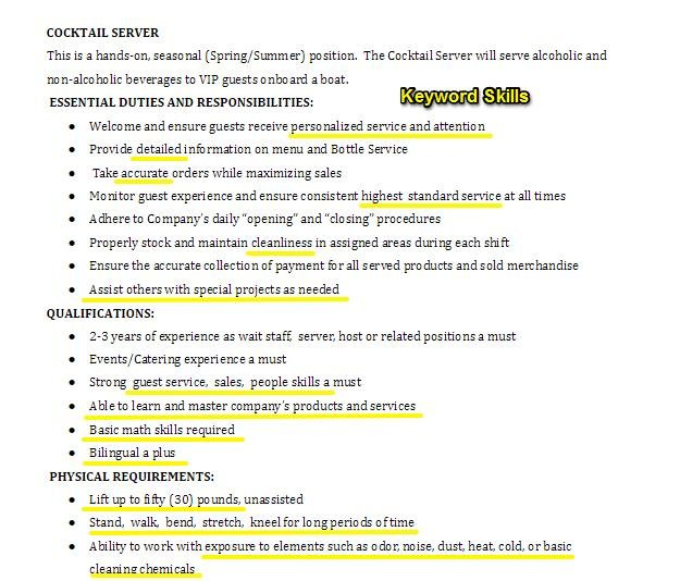 to tailor your resume job description matches this keywords in cocktail server offer Resume Your Resume Matches This Job