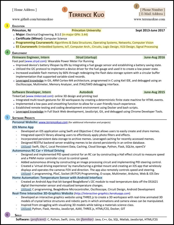 to write killer software engineering résumé computer vision engineer resume sections Resume Computer Vision Engineer Resume