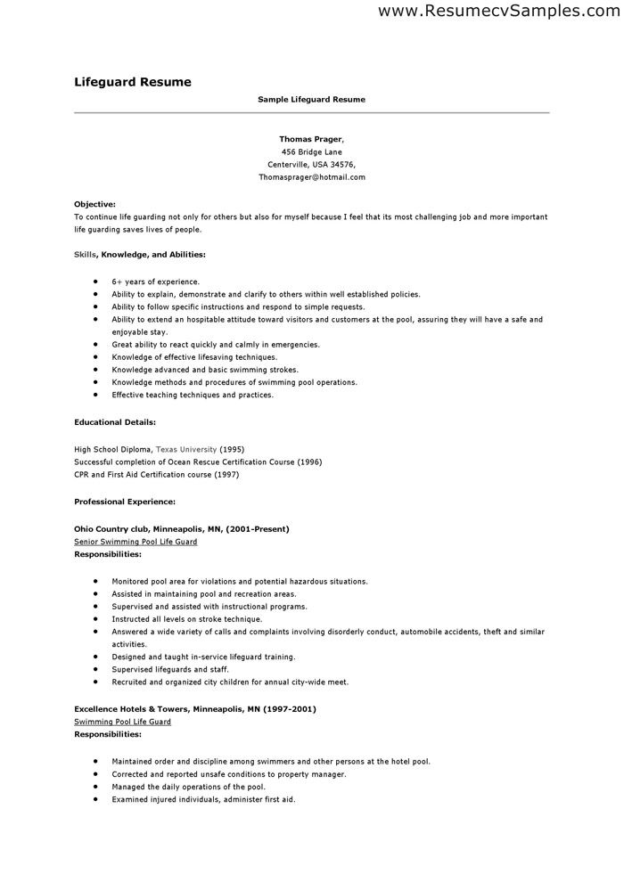 to write lifeguard resume objectives examples the clinic lecturer experience creative Resume Lifeguard Resume Examples