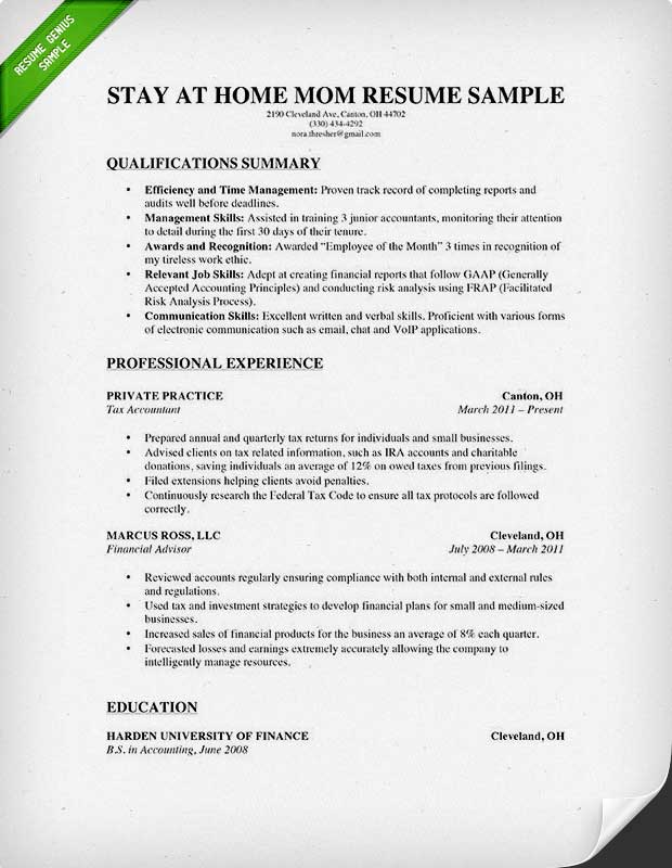 to write stay at home mom resume genius reentering the workforce experienced format for Resume Reentering The Workforce Resume