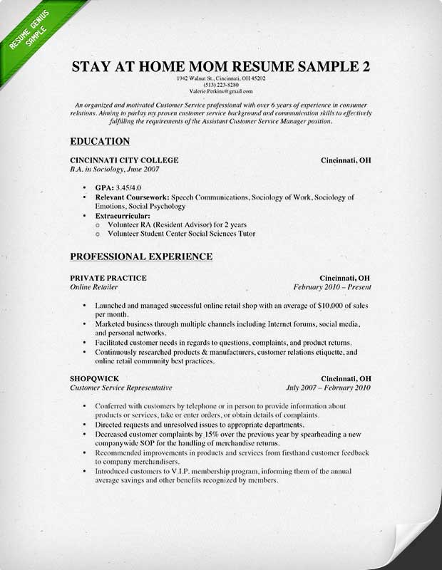 to write stay at home mom resume genius reentering the workforce some experience advanced Resume Reentering The Workforce Resume