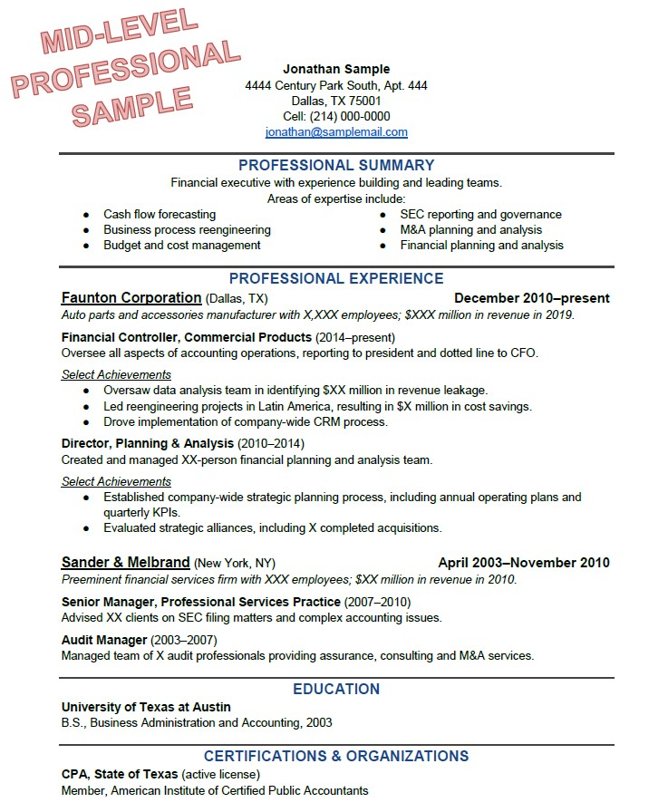 to write the perfect resume based on your years of experience one outline sample business Resume One Page Resume Outline