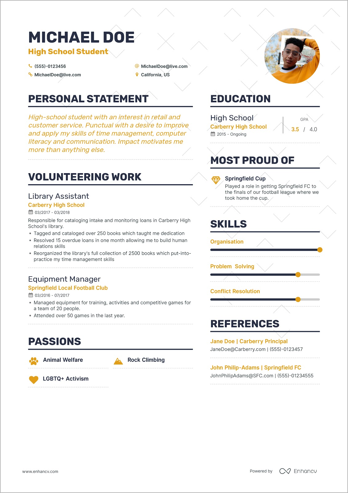 to write your first job resume example of good for michaeldoeresume firstresume waitress Resume Example Of A Good Resume For A First Job