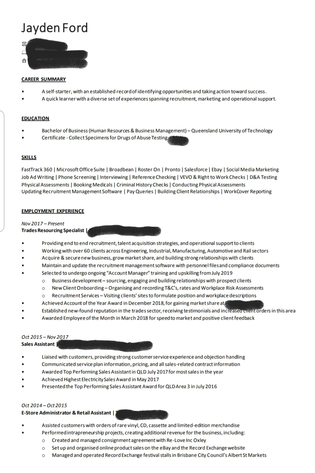 took advice from previous post and would to hear your thoughts on my new resume good Resume Bad Work History Resume