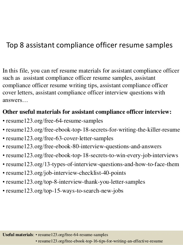 top assistant compliance officer resume samples sample computer science channel marketing Resume Compliance Officer Resume