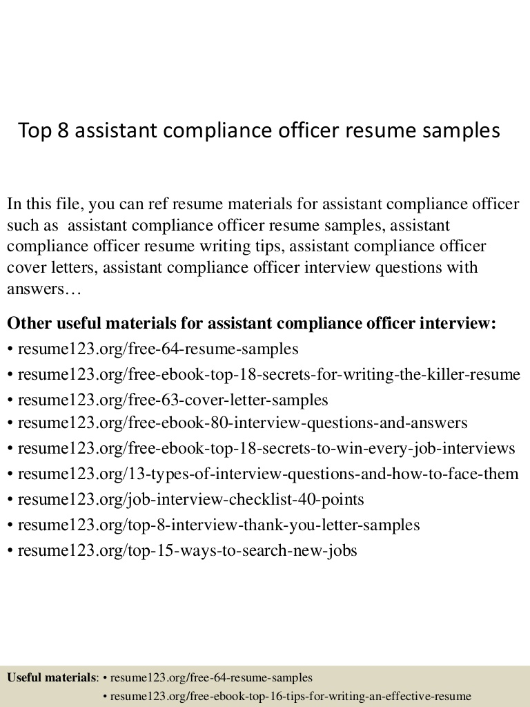 top assistant compliance officer resume samples Resume Compliance Officer Resume