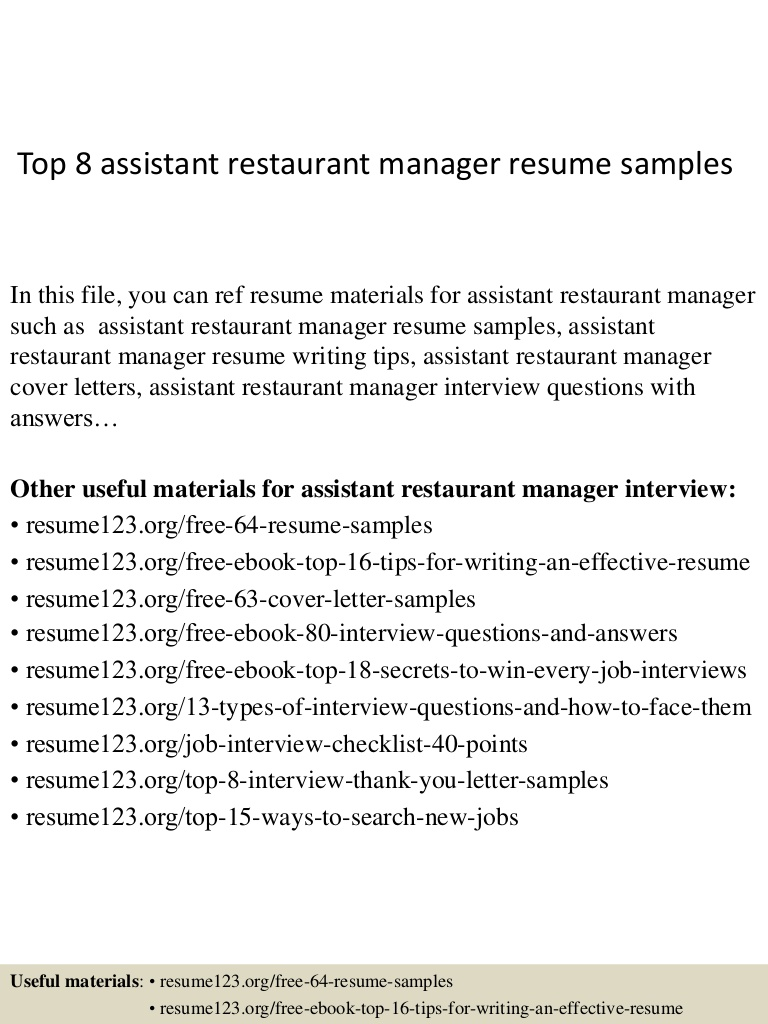 top assistant restaurant manager resume samples free Resume Free Restaurant Manager Resume