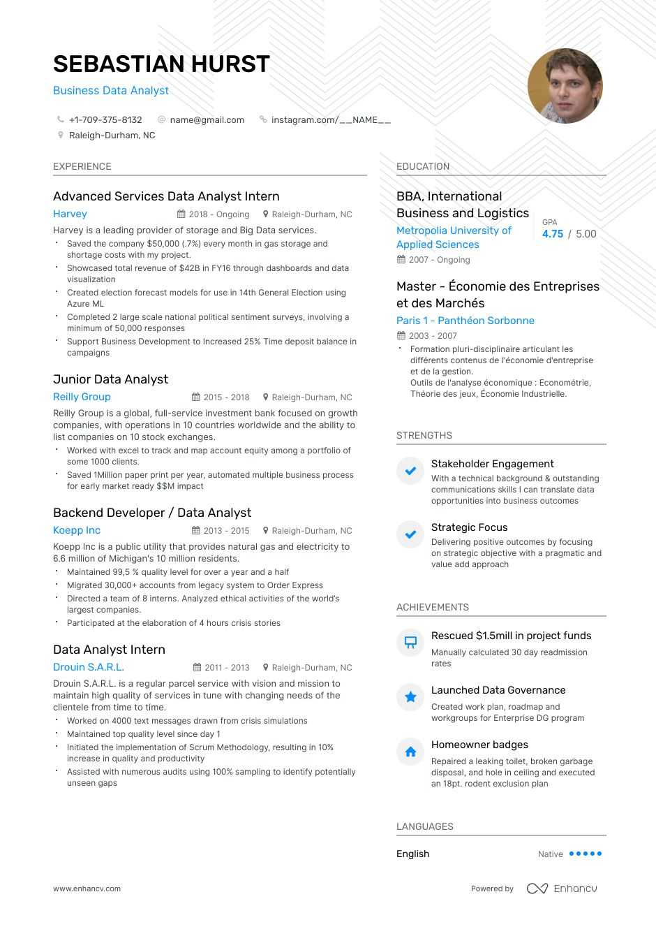 top business data analyst resume examples expert tips enhancv migration summary college Resume Data Migration Business Analyst Resume
