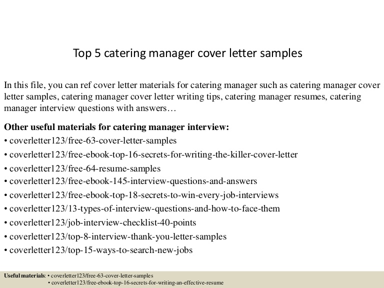 top catering manager cover letter samples example of resume Resume Example Of Catering Resume