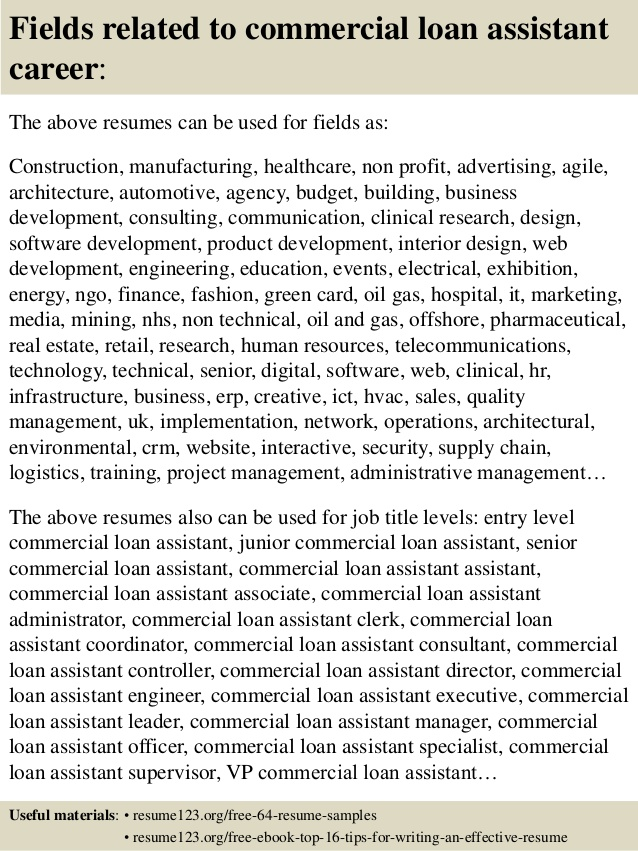 top commercial loan assistant resume samples sample hospital sitter business consultant Resume Loan Assistant Resume Sample