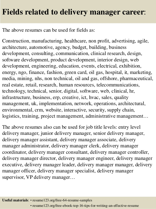 top delivery manager resume samples director career perfect service reviews usc goals for Resume Delivery Director Resume