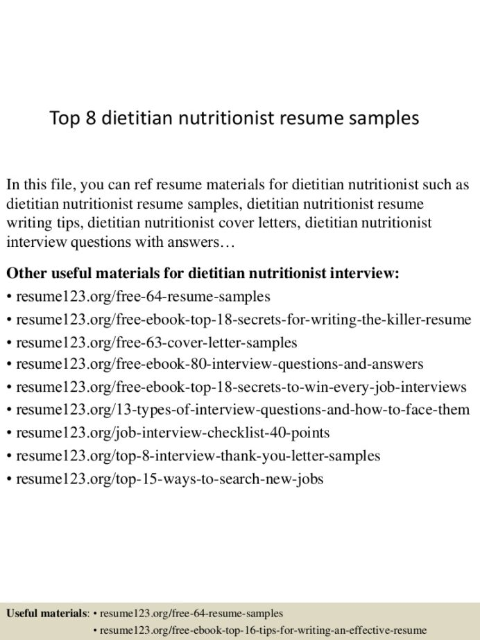 top dietitian nutritionist resume samples clinical cover letter Resume Clinical Dietitian Resume Cover Letter
