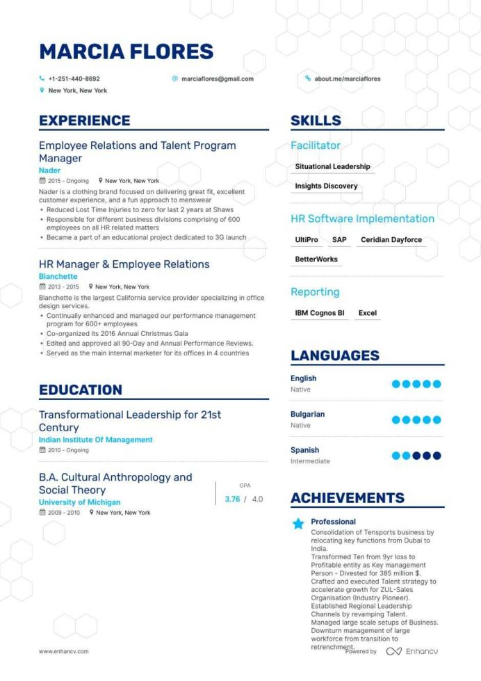 top employee relations resume examples samples for enhancv completely free templates mba Resume Employee Relations Resume