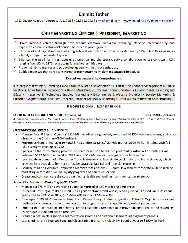 top executive resume writing examples senior level leadership points for chief marketing Resume Leadership Points For Resume