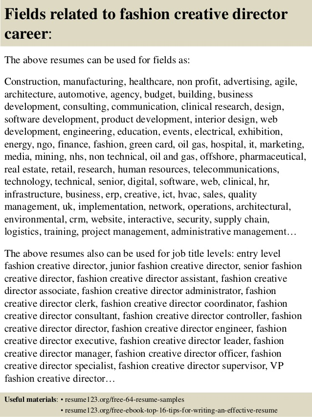 top fashion creative director resume samples for working student robotics automation Resume Fashion Creative Director Resume