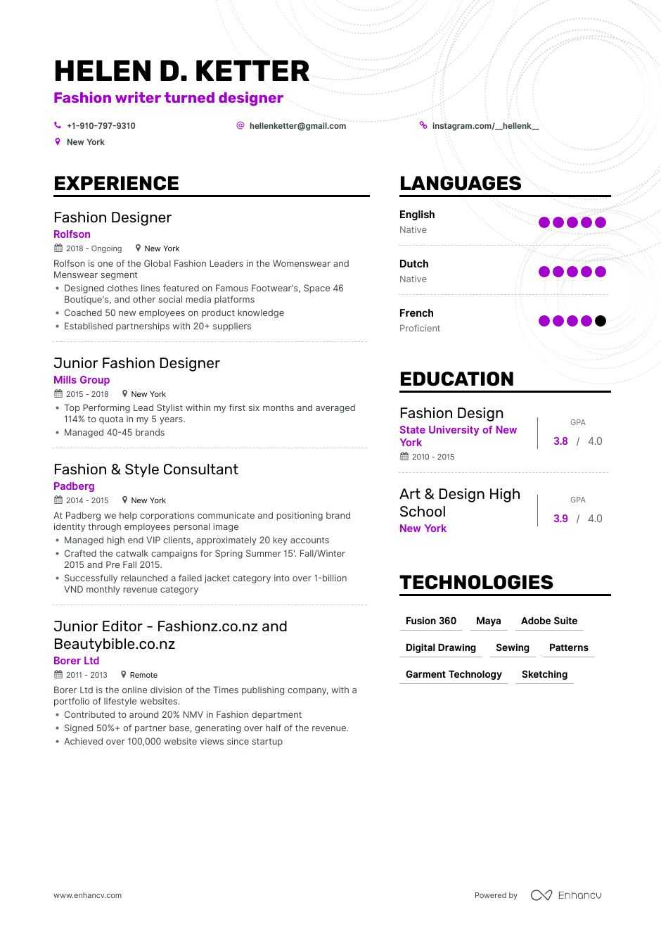 top fashion designer resume examples expert tips enhancv objective for restaurant manager Resume Objective For Fashion Designer Resume