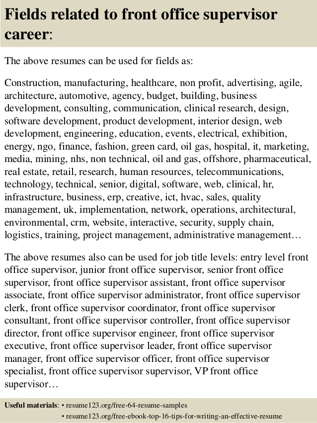 top front office supervisor resume samples medical consulting specific production worker Resume Medical Front Office Supervisor Resume