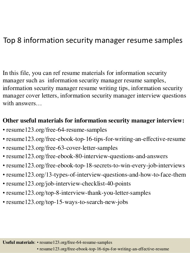 top information security manager resume samples airbnb communication skills good layout Resume Security Manager Resume