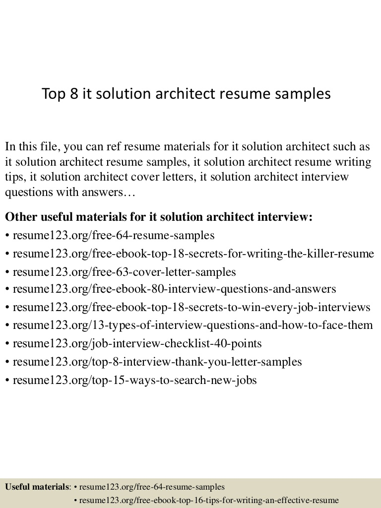 top it solution architect resume samples top8itsolutionarchitectresumesamples lva1 Resume Solution Architect Resume