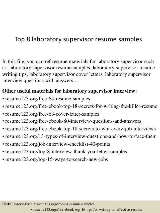 top laboratory supervisor resume samples manager auto technician admin examples third Resume Laboratory Manager Resume