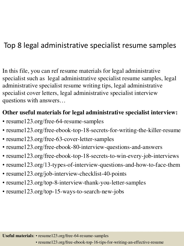 top legal administrative specialist resume samples sample Resume Administrative Specialist Resume Sample