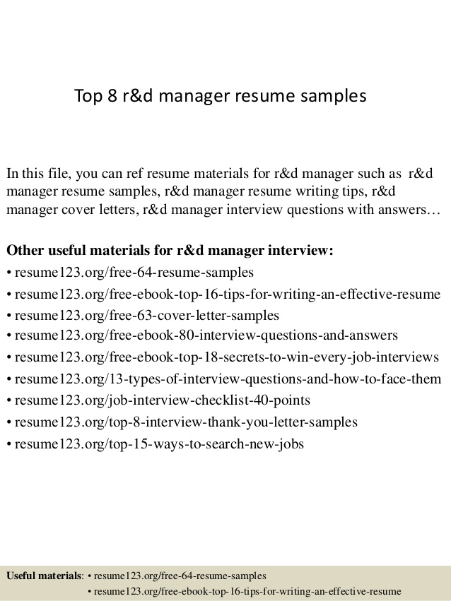 top manager resume samples sample rd healthcare operations importance of building simple Resume R&d Manager Resume Sample