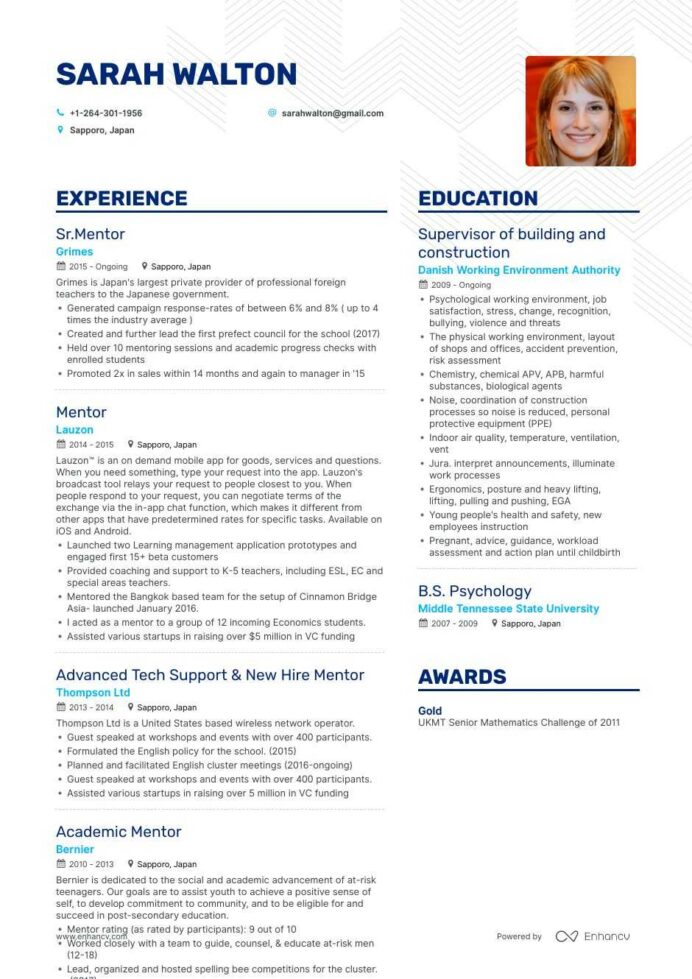 top mentor resume examples samples for enhancv job description sccm profile sample cfo Resume Mentor Job Description For Resume