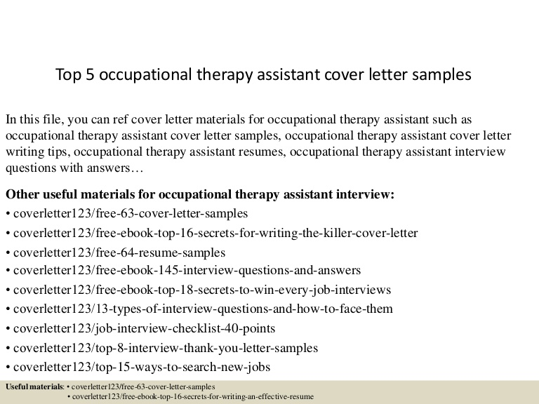top occupational therapy assistant cover letter samples resume Resume Occupational Therapy Resume Cover Letter