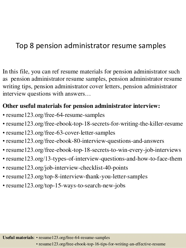 top pension administrator resume samples font size pitch example chronological template Resume Pension Administrator Resume