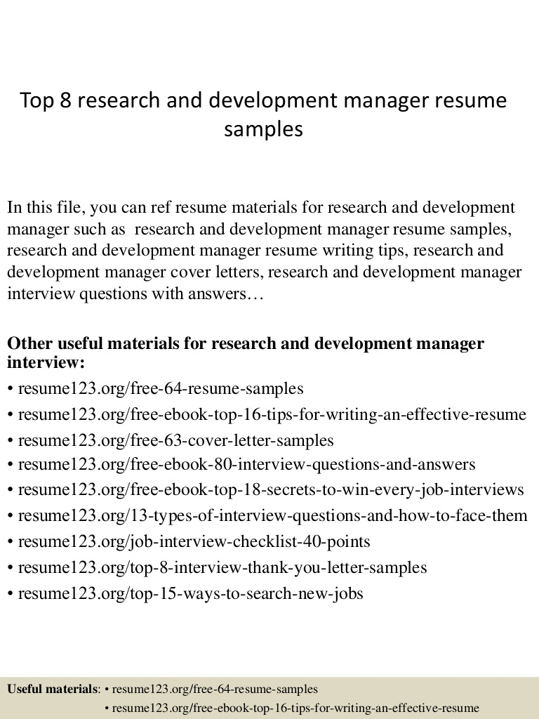 top research and development manager resume samples sample Resume R&d Manager Resume Sample