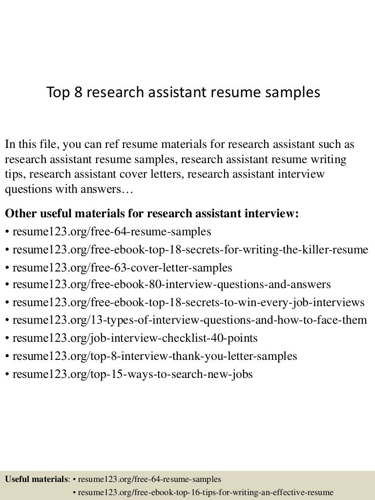 top research assistant resume samples entry level top8researchassistantresumesamples Resume Entry Level Research Assistant Resume