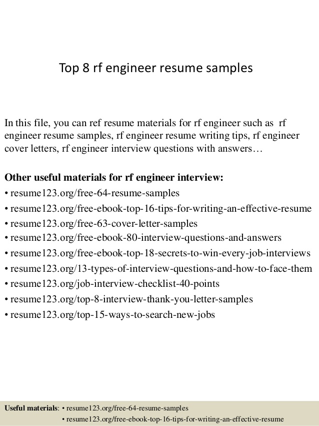 top rf engineer resume samples for freshers examples of cover letters generic recruiter Resume Rf Engineer Resume For Freshers