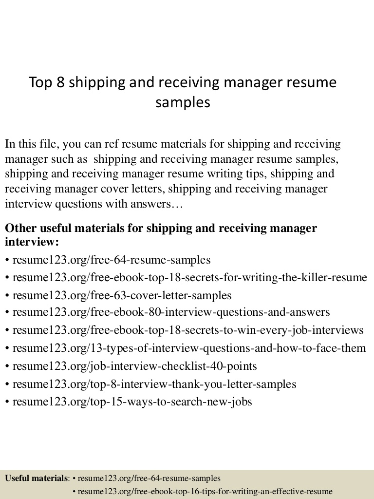 top shipping and receiving manager resume samples objective examples Resume Shipping And Receiving Resume Objective Examples