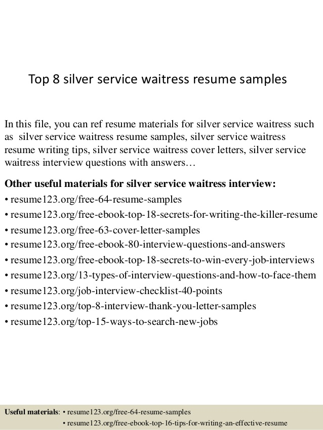 top silver service waitress resume samples customer waiter format for computer engineer Resume Customer Service Waiter Resume