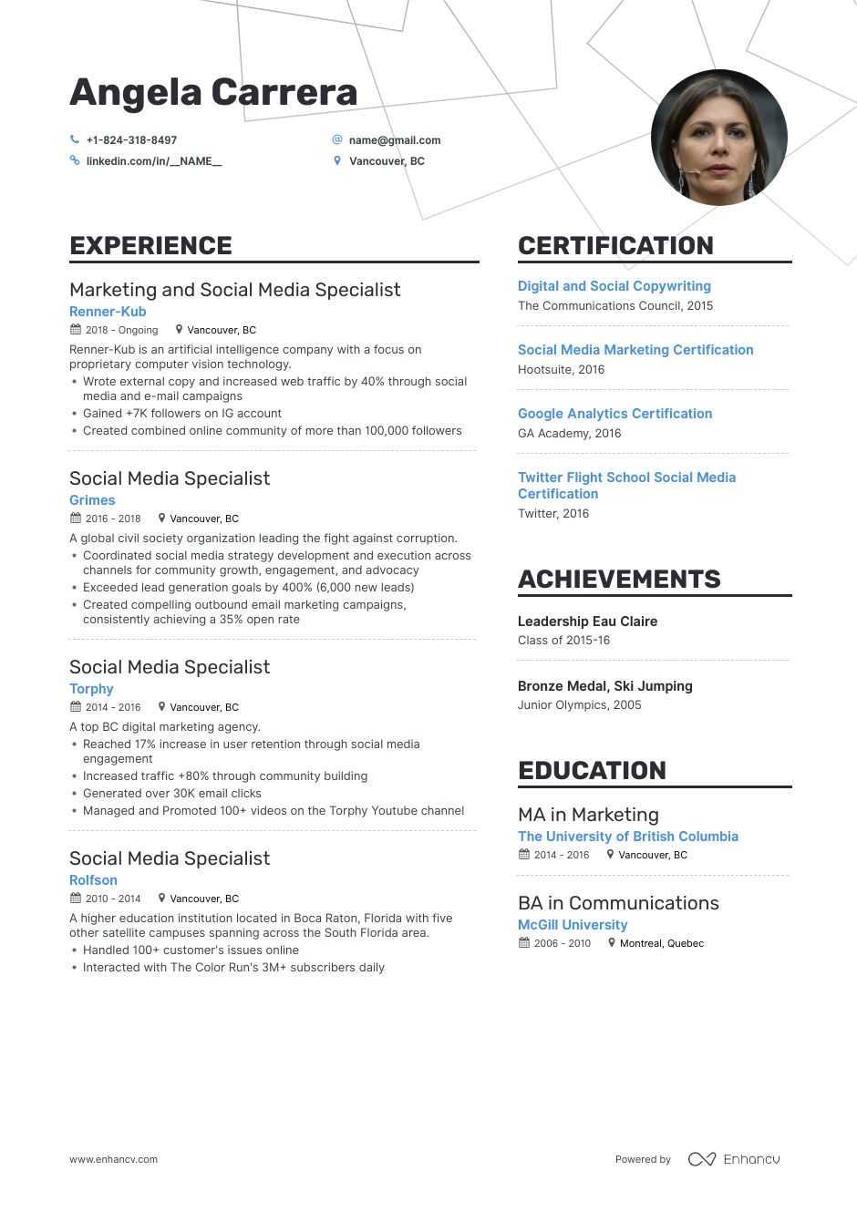 top social media marketing resume examples samples for enhancv sample access control Resume Social Media Resume Sample