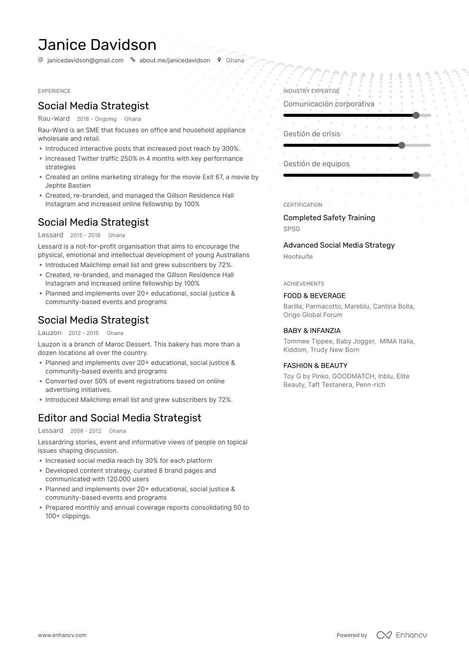 top social media strategist resume examples samples for enhancv fabricator job Resume Social Media Strategist Resume
