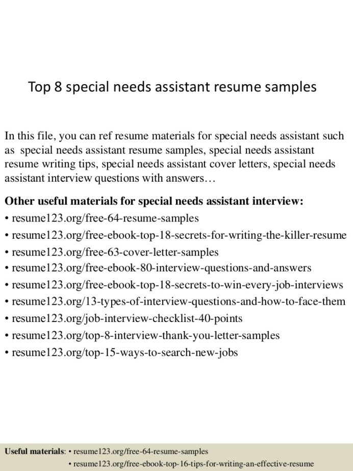 top special needs assistant resume samples top8specialneedsassistantresumesamples lva1 Resume Special Needs Assistant Resume