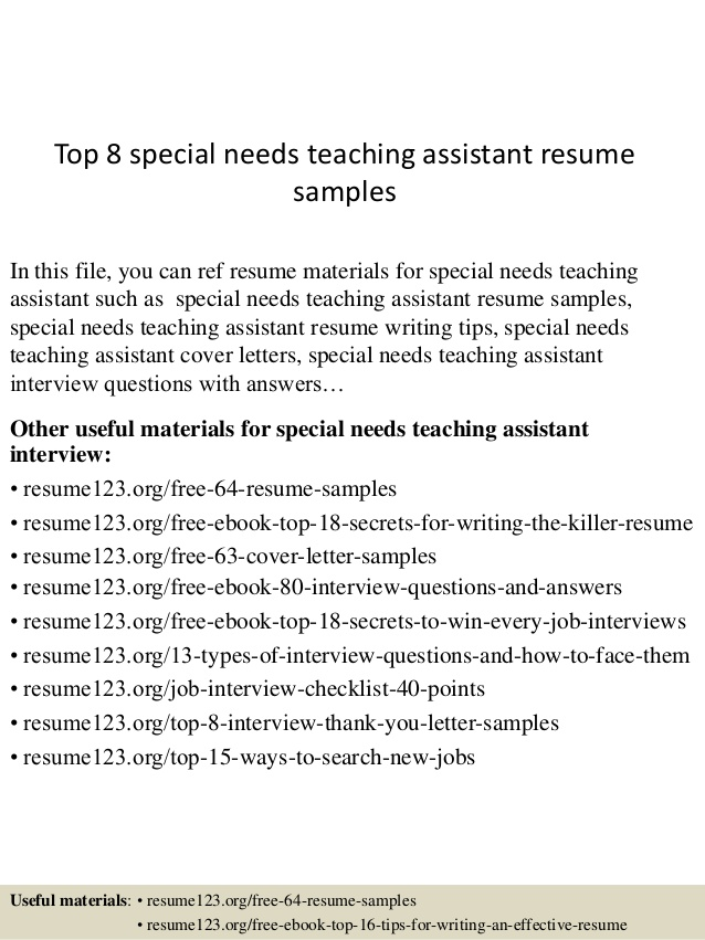 top special needs teaching assistant resume samples humber personal statement for nursing Resume Special Needs Assistant Resume