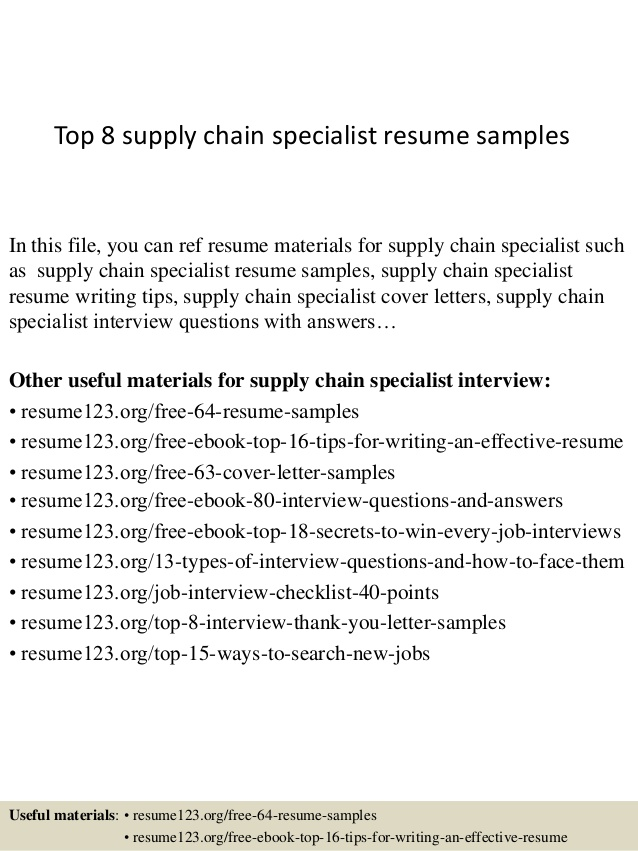 top supply chain specialist resume samples opening statement for administrative assistant Resume Supply Chain Specialist Resume