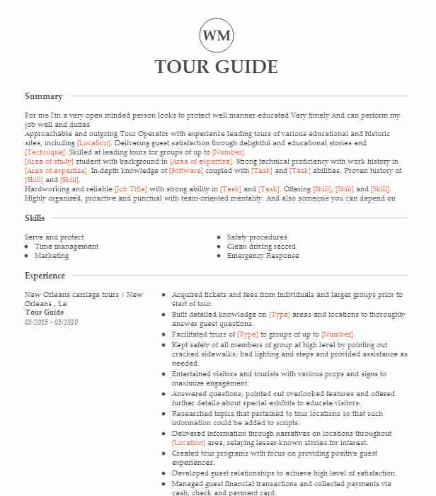 tour guide resume example travel and tourism resumes livecareer college job description Resume College Tour Guide Job Description Resume