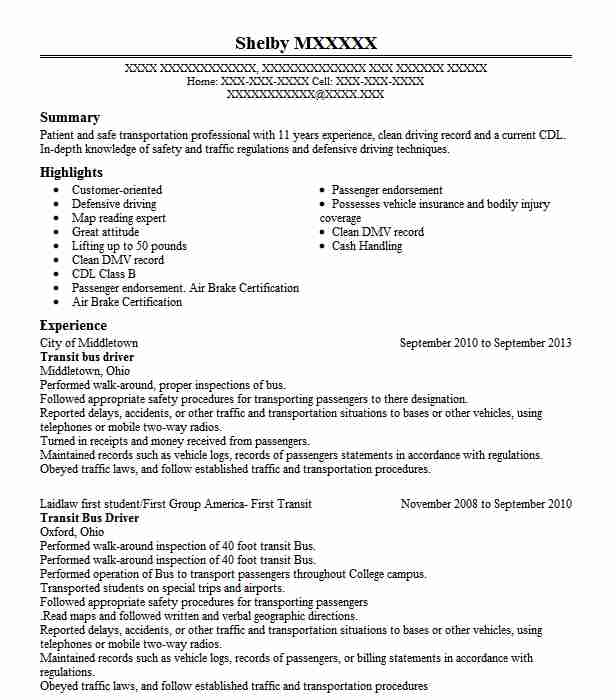 transit bus driver resume example resumes livecareer for position data entry objective Resume Resume For Bus Driver Position
