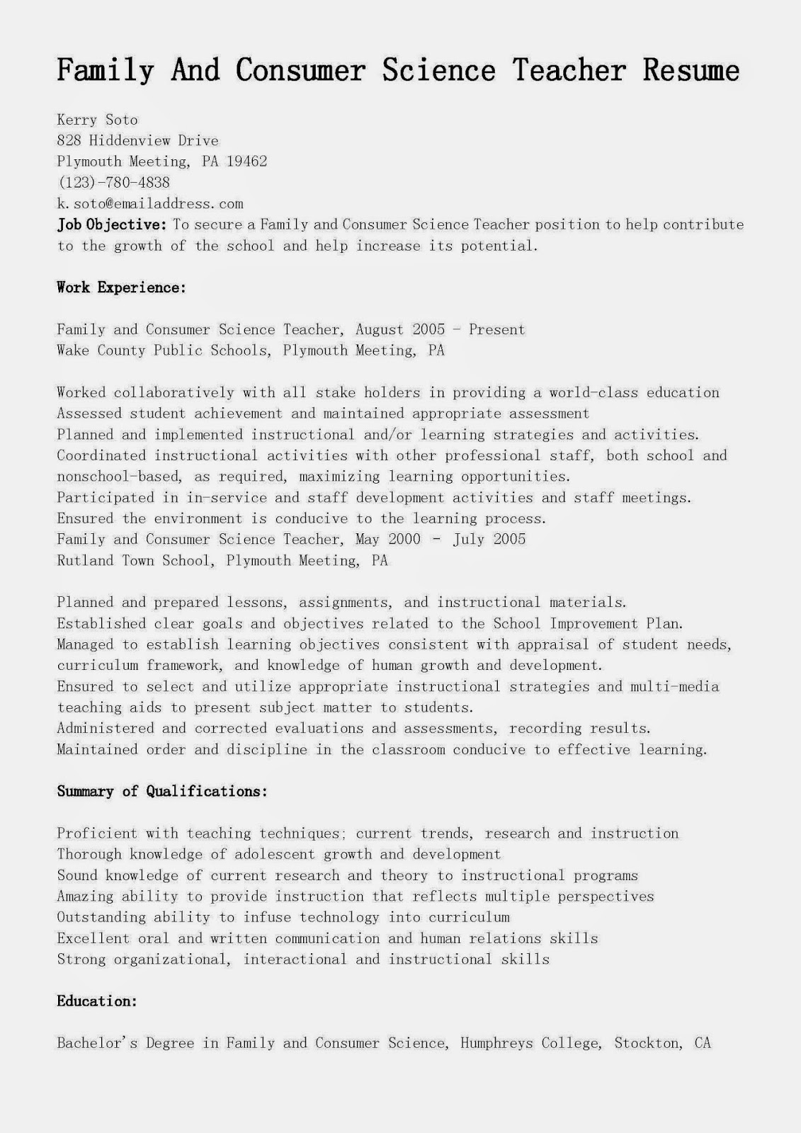 trends in family and consumer sciences induced info science teacher resume motion Resume Family And Consumer Science Teacher Resume