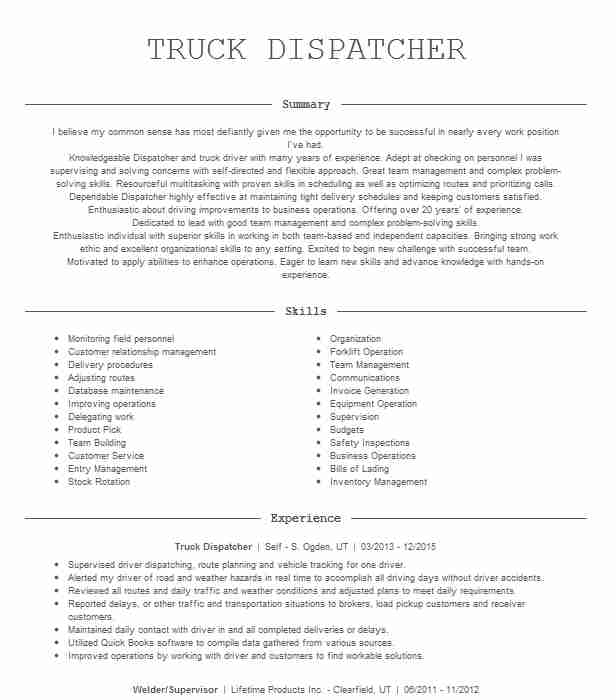 truck dispatcher resume example wideco transportation skills nursing cover letter Resume Dispatcher Resume Skills