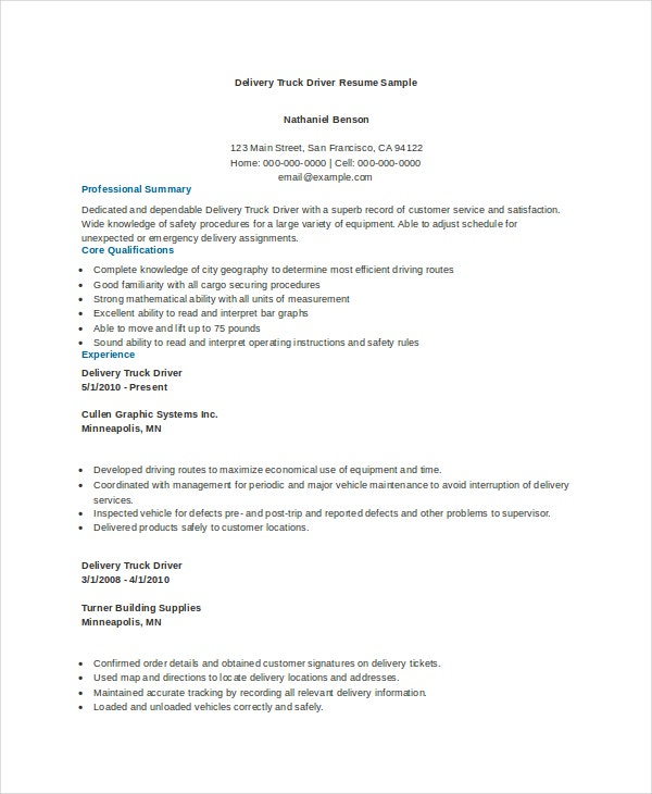 truck driver resume templates pdf free premium semi examples delivery sample substitute Resume Semi Truck Driver Resume Examples