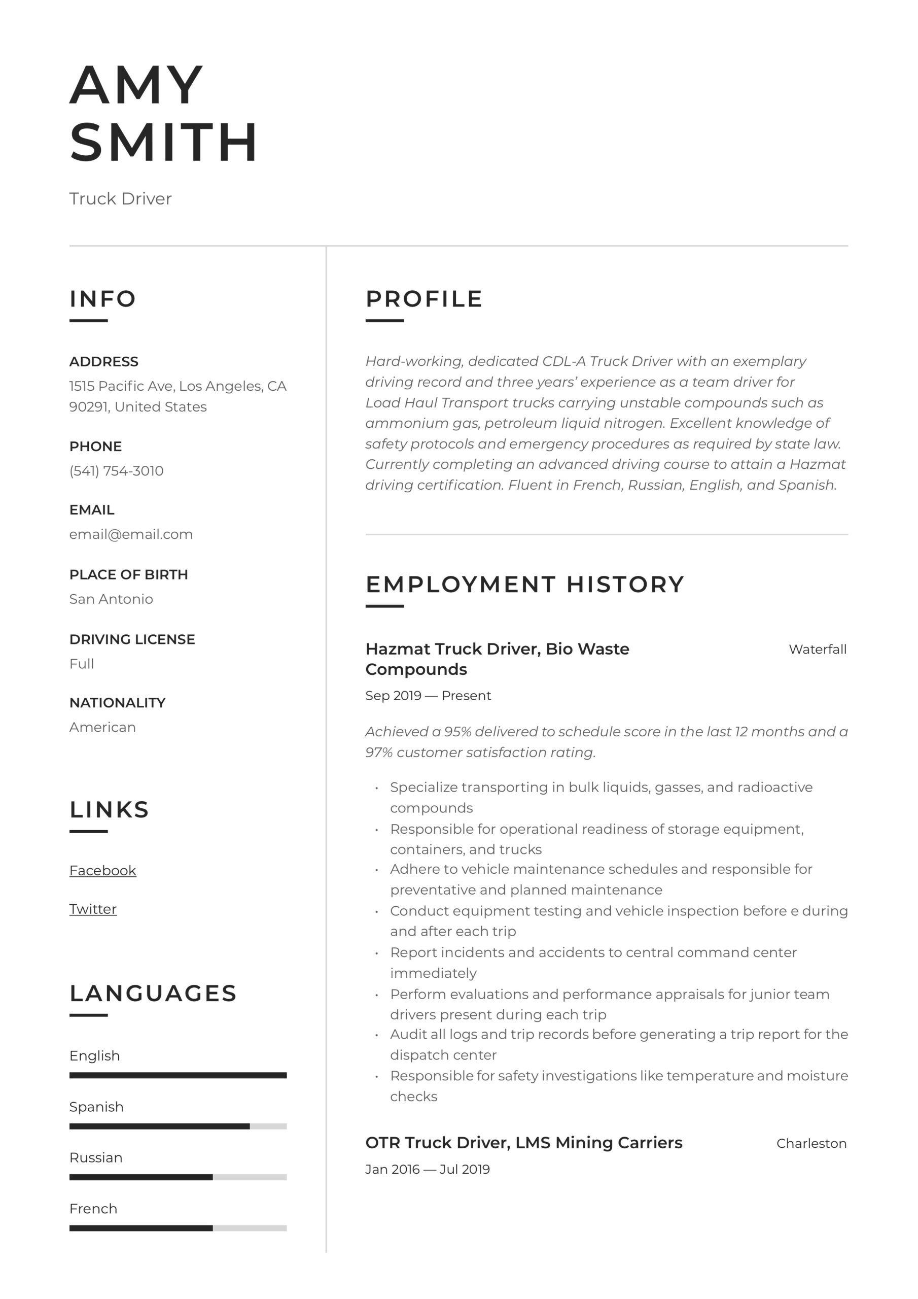 truck driver resume writing guide examples template word calibri font for hospital Resume Truck Driver Resume Template Word